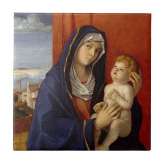 Bébé Jésus tenant la poire d'or Petit Carreau Carré