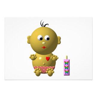 Bébé mignon avec le coeur ! cartons d'invitation personnalisés