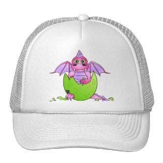 Bébé mignon de dragon en oeuf criqué - rose/pourpr casquettes