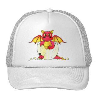 Bébé mignon de dragon en oeuf criqué - rouge/jaune casquette de camionneur