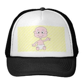 Bébé mignon de ondulation, sur les rayures jaunes. casquettes de camionneur