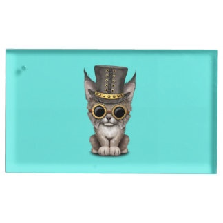 Bébé mignon Lynx CUB de Steampunk Porte-carte De Table