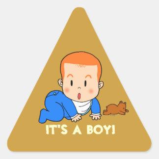 Bébé roux mignon sticker triangulaire