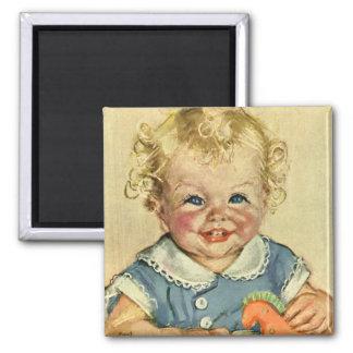 Bébé scandinave blond mignon vintage ou fille magnet carré