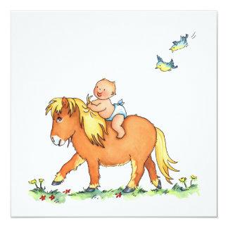 Bébé sur le cheval de poney - faire-part de carton d'invitation  13,33 cm