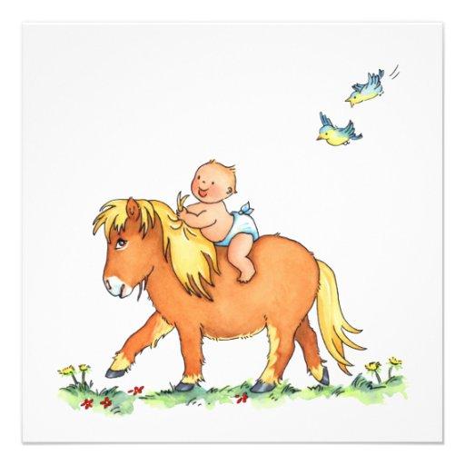 Bébé sur le cheval de poney - faire-part de naissa