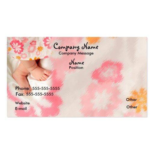Bébé sur le rose modèles de cartes de visite