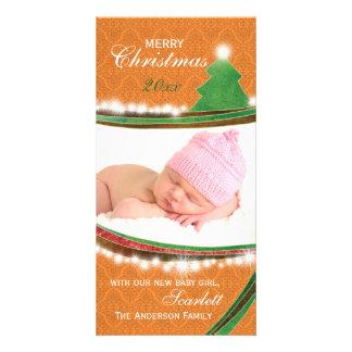 Bébé vert et orange Photocards de Joyeux Noël nouv Photocartes