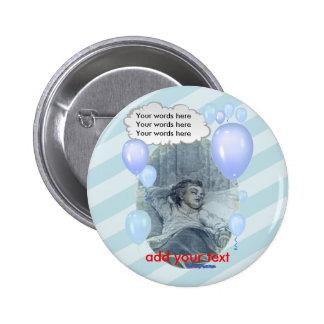Bébé victorien, bleu de l'ombre de la maman badge rond 5 cm