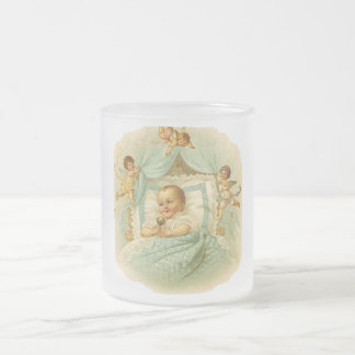 Bébé vintage et anges mug en verre givré