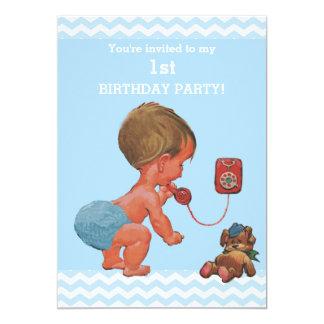 Bébé vintage sur anniversaire de chevrons de carton d'invitation  12,7 cm x 17,78 cm