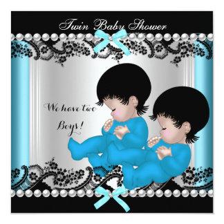 Bébés mignons bleus de baby shower jumeau de carton d'invitation  13,33 cm