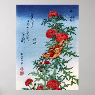 Bec croisé sur un chardon, Hokusai Posters
