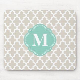 Beige de toile et monogramme fait sur commande tapis de souris