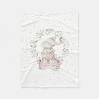 Beige de vert de rose d'éléphant de bébé de fille couverture polaire
