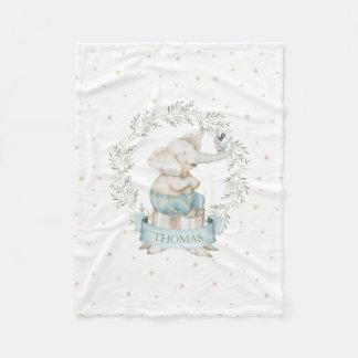 Beige de vert de rose d'éléphant de bébé de garçon couverture polaire