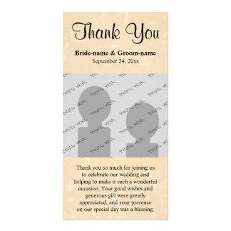 Beige et noir avec le mariage subtil de motif carte avec photo