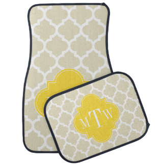 Beige, monogramme initial de l'ananas #5 3 de tapis de sol