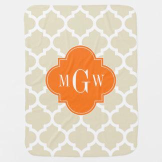 Beige, monogramme initial du citrouille 3 blancs couverture de bébé