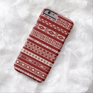 Beige rouge de motif géométrique ethnique tribal coque barely there iPhone 6