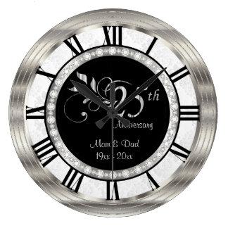 Bel 25ème anniversaire argenté de diamant grande horloge ronde