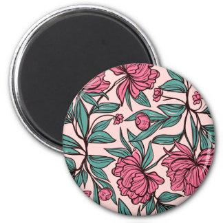 Bel aimant floral rose tiré par la main de  