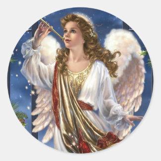 Bel ange vintage de Noël Sticker Rond
