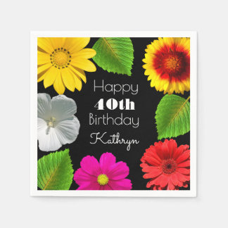 Bel anniversaire de jardin serviette en papier