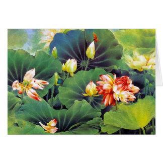 Bel art chinois frais de feuille de vert de fleur cartes de vœux