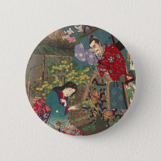 Bel art japonais de samouraïs de geisha badge