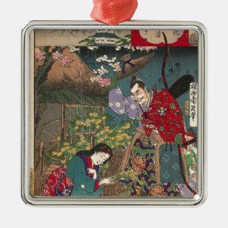Bel art japonais de samouraïs de geisha ornement carré argenté