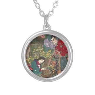 Bel art japonais de samouraïs de geisha pendentif rond
