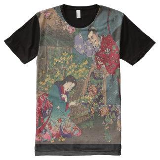 Bel art japonais de samouraïs de geisha t-shirt tout imprimé