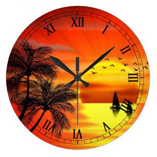 bel art orange de coucher du soleil grande horloge ronde