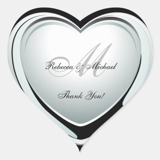 Bel autocollant de Merci de mariage de coeur de pl