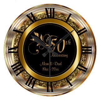 Bel cinquantième anniversaire d'or grande horloge ronde
