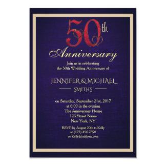 Bel cinquantième invitation élégant d'anniversaire
