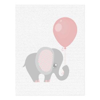 Bel éléphant rose de bébé carte postale