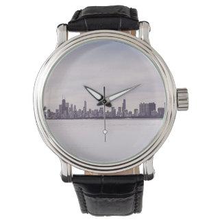 bel hiver Chicago - la montre en cuir vintage des