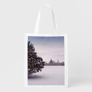 bel hiver Chicago - sac réutilisable