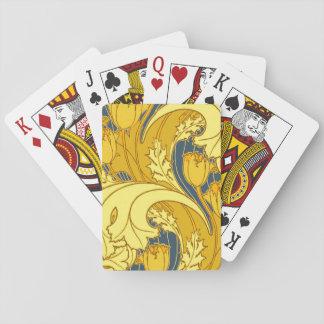 Bel or bleu de tourbillonnement floral cartes à jouer