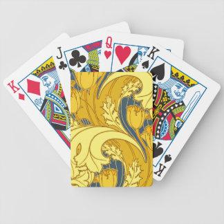 Bel or bleu de tourbillonnement floral jeu de cartes