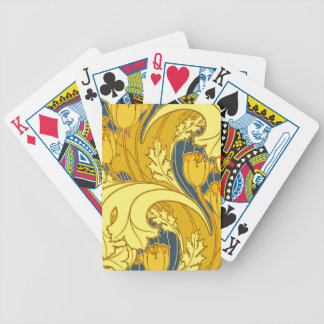 Bel or bleu de tourbillonnement floral jeu de poker
