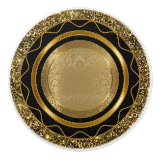 Bel or élégant et conception noire bouton de porte en céramique