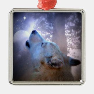 Bel ornement de Noël de loup et de lune