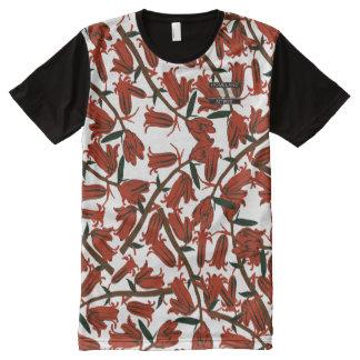 Bell rouge fleurit chemise moderne de concepteur t-shirt tout imprimé