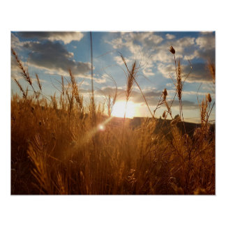 Belle affiche d'un coucher du soleil au-dessus poster