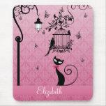 Belle cage d'inséparables vintage girly élégante tapis de souris
