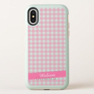 Belle caisse personnalisée Checkered rose de