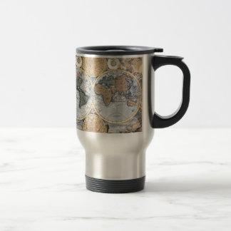 Belle carte antique d'atlas tasses à café